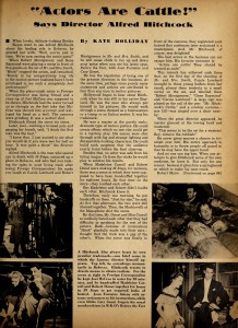 "The quote ""Actors are Cattle"" first appeared in an article by Kate Holiday in the 1941 Hollywood Magazine page 18"