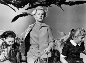 Tippi Hedren and children in a scene from THE BIRDS, 1963.