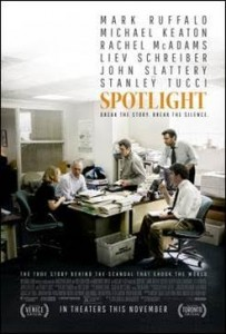 "Mark Ruffalo, Michael Keaton, Rachel McAdams, Liev Schreiber, John Slattery, and Stanley Tucci star in ""Spotlight."" Photo Credit: Open Road Films"