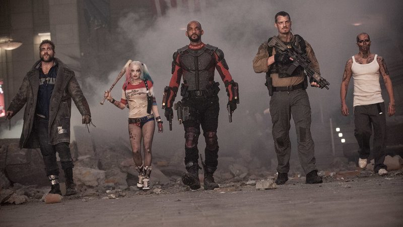 Jai Courtney, Margot Robbie, Will Smith, Joel Kinnaman and Jay Hernandez star in Suicide Squad. Photo credit: Clay Enos/ Warner Bros
