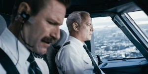 Aaron Eckhart and Tom Hanks in Sully. Photo credit: Warner Bros. Pictures
