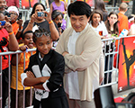 Jaden Smith and Jackie Chan pose for photographers