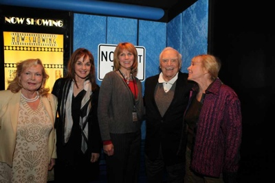 (left to right) Carol Lynley, Pamela Sue Martin, Tyna Cline, Ernest Borgnine, Stella Stevens at Hollywood Blvd. Cinema. Photo Credit: Steve Vukasovic