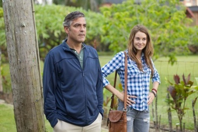 "Actors George Clooney (L) as ""Matt King"" and Shailene Woodley (R) as ""Alexandra"" on the set of THE DESCENDANTS. PHOTO BY: Merie Wallace Fox Searchlights Studio"